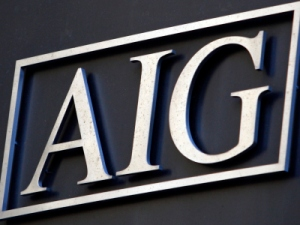 Image: File photo of the AIG logo  outside of their corporate headquarters in New York